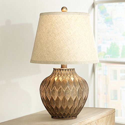 Lamp Table Bronze Paper (Buckhead Modern Accent Table Lamp Warm Bronze Geometric Urn Tapered Drum Shade for Living Room Family Bedroom Bedside Office - 360 Lighting)