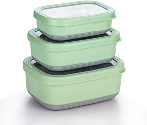 Lille Home Premium Stainless Steel Food Containers/Bento Lunch Box With Non-Slip Exterior | Set of 3, 470ml, 900ml,1.4L | Leakproof | BPA Free | Portion Control (Green)
