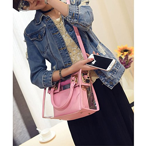Kofun Pink Crossbody 2x Handbag Candy Tote Transparent Gold Bag Ladies Messenger Shoulder rPgqwrTO