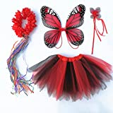 wire butterfly wings - 4 PC Girls Fairy Monarch Princess Costume Set With Wings, Tutu, Wand & Halo (Red)
