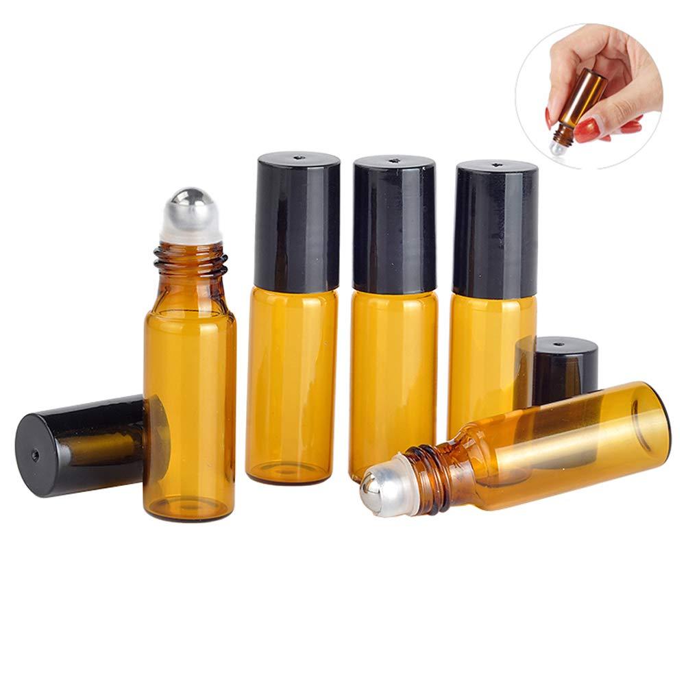 9474d500eeb0 Amazon.com : 12 Pcs 5ML 0.17OZ Amber Glass Refillable Roll-On ...