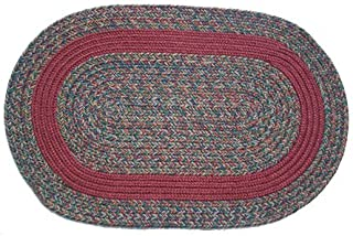 product image for Oval Braided Rug (2'x3'): Barbara Blend - Burgundy Band
