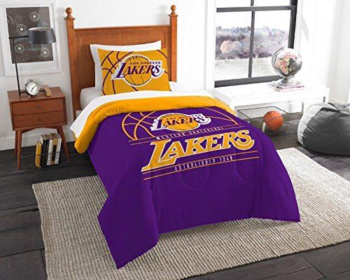 Los Angeles Lakers - 2 Piece TWIN Size Printed Comforter Set - Entire Set Includes: 1 Twin Comforter (64