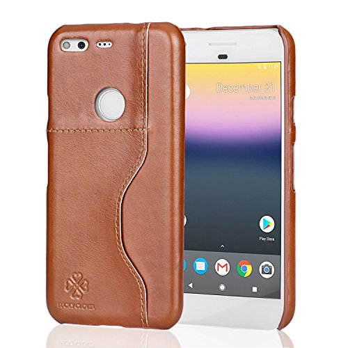 Google Pixel Case,LUCKY CLOVER Genuine Leather Thin Cases [Perfect Fit] Minimalist Flexible[1 Card Slots] Slim Body Shield [Stealth Armor] with Card Pocket for Google Pixel (2016)-Retro - Leather Genuine Armor Case