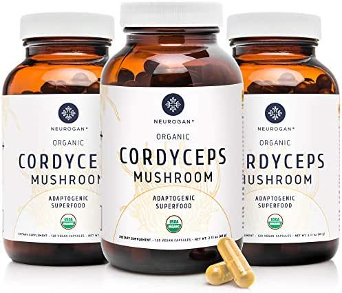 Neurogan Cordyceps Capsules - 1000mg Organic Cordyceps Militaris Extract for Improved Energy, Stamina, Immune & Oxygen Utilization - Vegan, Non-GMO, Gluten Free, 360 caps, 3-Pack