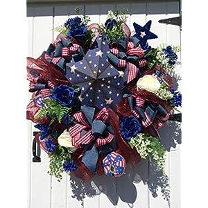 Patriotic Door Wreath, Mesh Wreath, Star Wreath, red White Blue Wreath, Summer Door Wreath 43