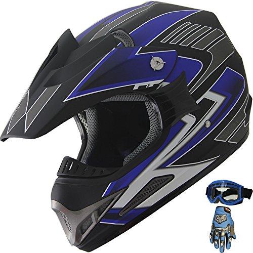 Adult Motocross ATV Helmet Dirt Bike OffRoad Mountain Bike Helmet Goggles Gloves Combo Matt Blue 189 (Med)