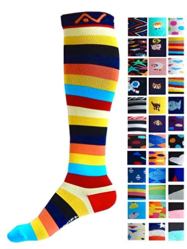 Compression Socks (1 pair) for Women & Men - Easywear Series - Best Graduated Athletic Fit for Running, Nurses, Flight Travel, & Maternity Pregnancy - Boost Stamina & Recovery (Savvy Stripes, L/XL)