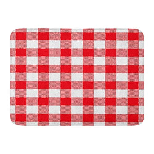 """YANAIX Doormats Bath Rugs Outdoor/Indoor Door Mat Abstract of Red Checkered Gingham Table Vintage Retro Styled Traditional Pattern Also for Napkin Bathroom Decor Rug 16"""" x 24"""""""