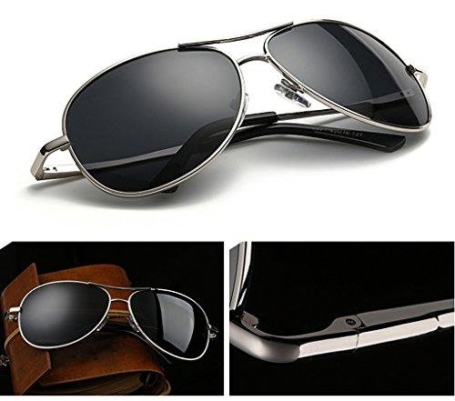 sol de sol afluencia Sheet personas conductor sol de Gafas Silver espejo de Gray de gafas Hombres conducir de yurt polarizador masculino Frame hombres And Black hombre conducir gafas sol la gafas WIZzWq5