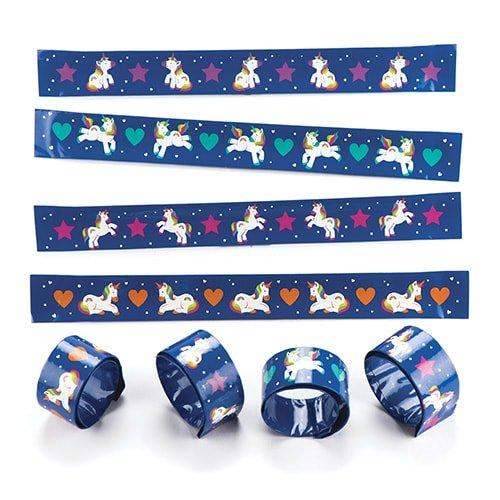 Baker Ross Bracelets à claquer Licornes arcs-en-Ciel pour Enfant- Cadeaux Amusants pour Pochettes-Surprises pour Enfant (Lot DE 4)