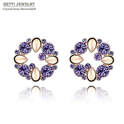 2016 Charming Valentine39;S Day Gift 4 Colors Girl Multicolor Flower Earrings with Genuine Crystals from Bijoux (Tanzanite)