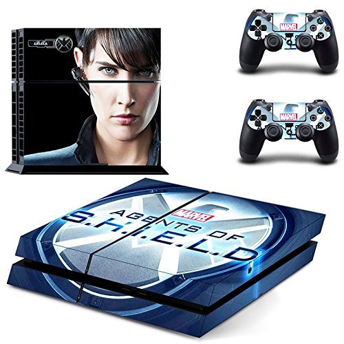 MightyStickers® PS4 Console Designer Protective Vinyl Decal Covers for Sony PlayStation 4 and Controller Skins Stickers - Marvel Comics The Avengers Movie Super Titan Heroes Agents of S.H.I.E.L.D. Maria Hill Shield for $<!---->