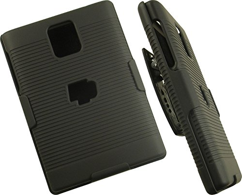 NAKEDCELLPHONE'S BLACK RUBBERIZED HARD CASE + BELT CLIP HOLSTER STAND FOR BLACKBERRY PASSPORT PHONE (FACTORY UNLOCKED EDITION SQW100-1 or Q30) ()