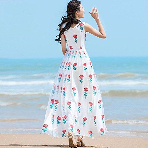 Lunga WYYY collo Signora Vestito Bianco dimensioni Spiaggia Maniche In Estiva Printing Da Abito M Balze Stagione Abito Gonna Chiffon V Senza IBIqCpw