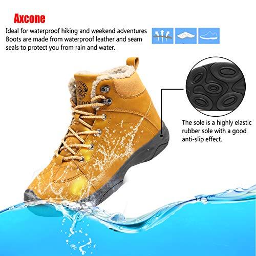 Axcone Homme Femme Chaussures Trekking Randonnée Bottes de Neige Hiver Imperméable Outdoor Boots Fourrure Cuir… 5