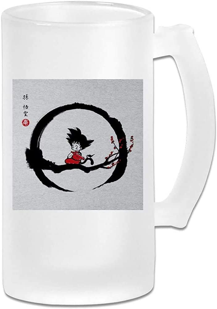 Taza de jarra de cerveza de vidrio esmerilado de 16 oz impresa - Young Goku Under The Moon Dragon Ball Z - Taza gráfica