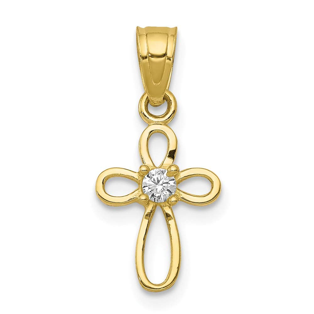 10k Yellow Gold Small CZ Cross Pendant