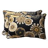 Pillow Perfect Decorative Floral Rectangle Toss Pillow, 24-1/2 x 16-1/2 x 5-Inch, Black/Yellow