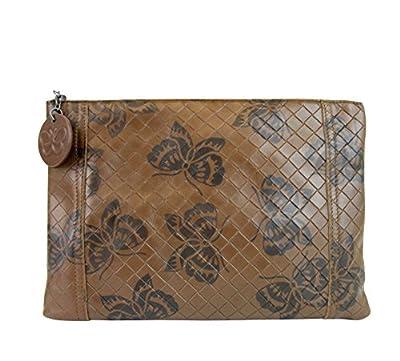Bottega Veneta Intrecciomirage Brown Leather Butterfly Clutch Pouch Bag 301499 8402