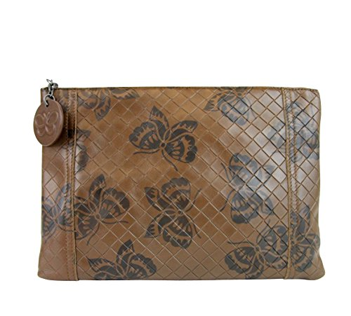 Bottega Butterfly Brown Bag 301499 Pouch Clutch 8402 Veneta Intrecciomirage Leather rZPxwrFq