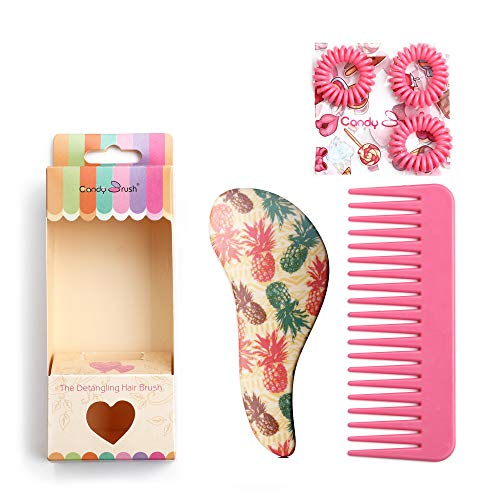 Pro Detangle Hair Brush Set and Hair Comb,Eco-friendly Materials, Cute Pineapple hair straightenning brush (Size Small)