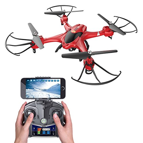 Holy Stone HS200 FPV RC Drone with HD Wifi Camera Live Feed 2.4GHz 4CH 6-Axis Gyro Quadcopter with Altitude Hold, Gravity Sensor and Headless Mode RTF Helicopter, Color Red 51QFpII4nCL  Store 51QFpII4nCL