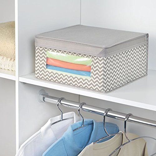 mDesign Soft Stackable Fabric Closet Storage Organizer Holder Box - Clear Window, Attached Hinged Lid, for Bedroom, Hallway, Entryway – Fun Zig Zag Chevron Pattern - Medium, Pack of 4, Taupe/Natural