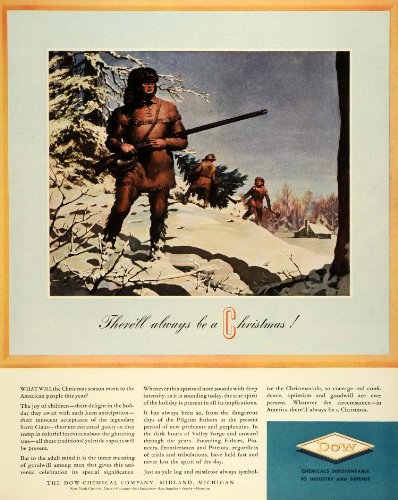 1941-ad-dow-chemical-co-logo-christmas-winter-frontiersman-coonskin-hat-musket-original-print-ad