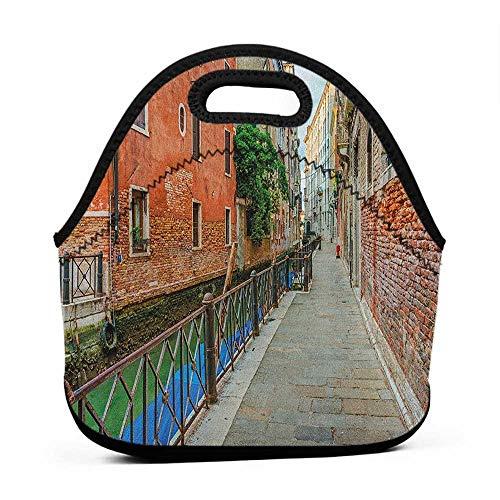 (Convenient Lunch Box Tote Bag Venice,Empty Idyllic Streets of Venezia Travel Destination Romantic Vacation Old Buildings, Multicolor,medium shoulder bag for women lunch bag)