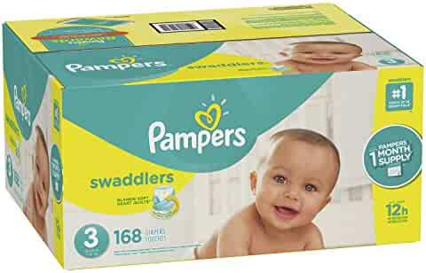 Pampers Swaddlers Disposable Diapers Size 3, 168 Count, ONE MONTH SUPPLY