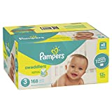 Pampers Swaddlers Disposable Baby Diapers Size 3, 168 Count, ONE MONTH SUPPLY