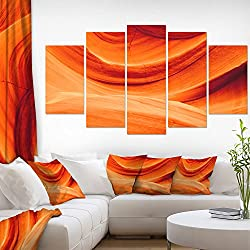 Design Art Antelope Canyon Orange Wall Landscape Photography Canvas Print