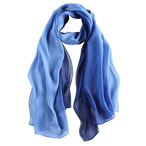 Silk Scarf Gradient Colors Scarves 100% silk Long Lightweight Sunscreen Shawls for Women … (Blue, L68.89''xW24.4'')