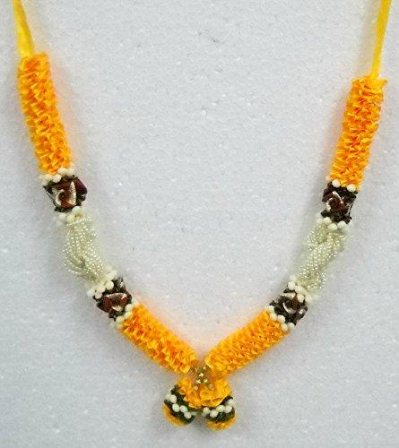 Orange & White Satin Ribbon Artificial Floral Deity Garland HIndu God Mala Haar India