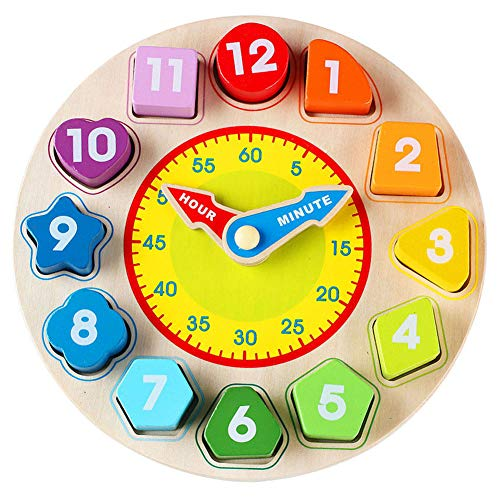 Wondertoys Wooden Shape Sorting Clock Toddlers Gifts Educational Toy for 1 2 3 Years Old Boy and Girl ()