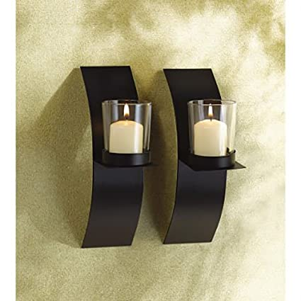 Amazon.com: Modern Art Candle Holder Wall Sconce Plaque Set of Two ...