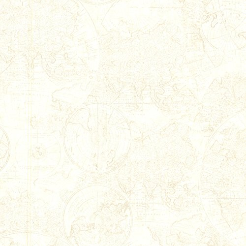 Beacon House 2604-21238 Cartography Vintage World Map Wallpaper, (Beacon House Wallpaper)