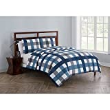 OSD 2pc Boys Grey Blue Cross Plaid Theme Comforter Twin Set, Southwest Country, Bedding, Bright Colors, Lodge Cabin Hunting Themed, Madras Checkered Pattern