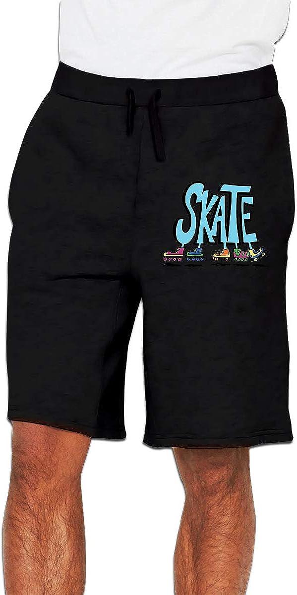 MH08OMG Roller Skates Mens Cotton Loose-Fit Running Fleece Shorts