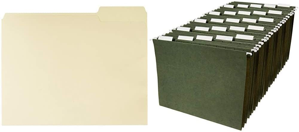 AmazonBasics 1/3-Cut, Right Position File Folders, Letter Size, Manila - Pack of 100 & Hanging File Folders, Letter Size, Green - Pack of 25