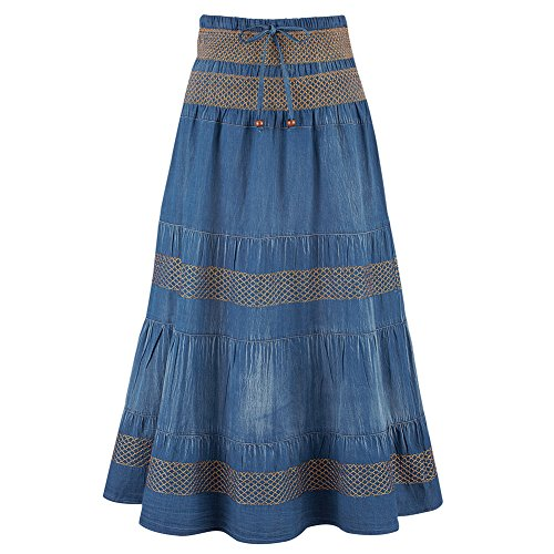 Collections Women's Tiered A-Line Denim Boho Prairie Skirt, Denim, Large