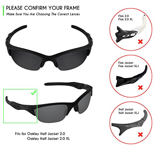 aa1d48a9c2 Mryok 4 Pair Polarized Replacement Lenses for Oakley Half Jacket 2.0 XL  Sunglass - Stealth Black
