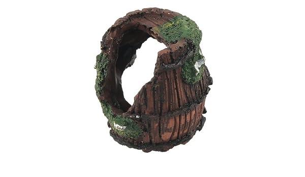 Amazon.com: eDealMax Jardin barril Diseño de paisajismo del ornamento del acuario Con el de cerámica, marrón/Verde: Pet Supplies