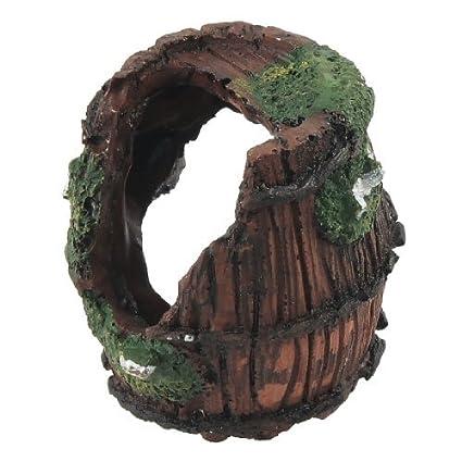 eDealMax Jardin barril Diseño de paisajismo del ornamento del acuario Con el de cerámica, marrón