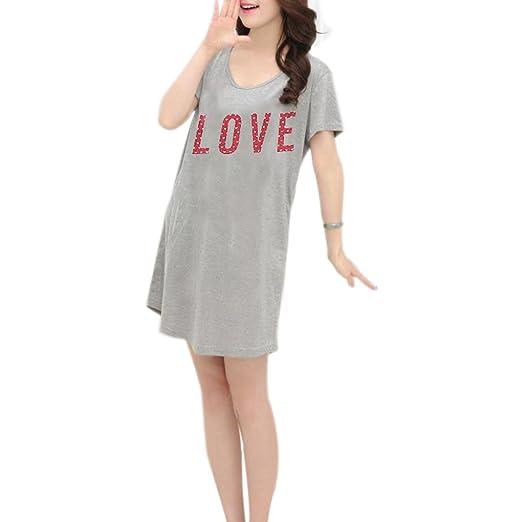 7950d5be71 Starsource Cute Women Girl Summer Home Grey Printed Love Pure Cotton Short  Sleeve Sleep Dress Nightwear