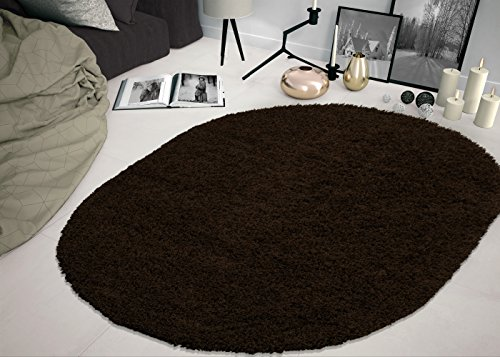 Sweet Home Stores Cozy Shag Collection Solid Shag Rug, 5'3 X 7' Oval, Brown Color Oval Sweet