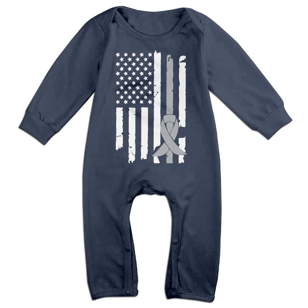 Mri-le1 Toddler Baby Boy Girl Organic Coverall Brain Cancer Awareness USA Flag-1 Kid Pajamas