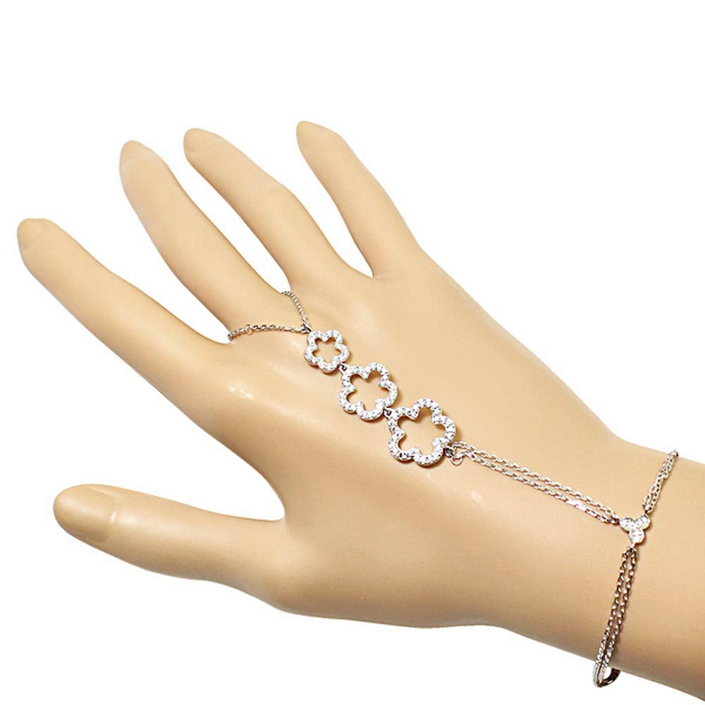 925 Sterling Silver Flower Clover White CZ Hand Jewelry Ring Link Chain Bracelet