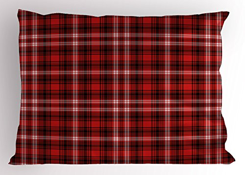 Ambesonne Plaid Pillow Sham, Nostalgic Striped Pattern from British Country with Constrasting Colors, Decorative Standard King Size Printed Pillowcase, 36